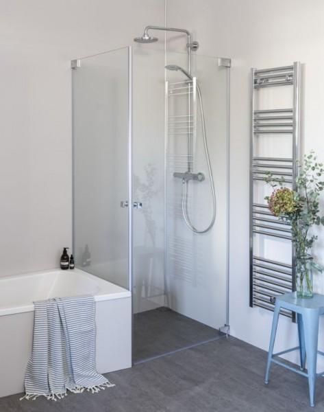 Eck Duschkabine neben Badewanne mit 2 Pendeltüren an Wand, Sondermaße