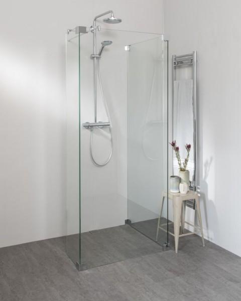 Walk In Duschwand mit Glas Seitenwand und Festteil, Sondermaße