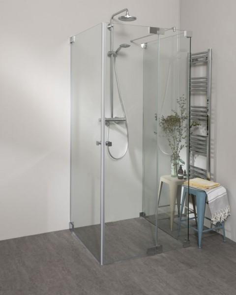 Duschkabine U Form mit 2 Pendeltüren als Eckeinstieg & Festwand