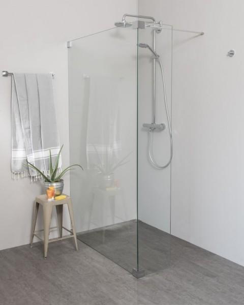 Begehbare Dusche: Walk In Duschwand mit Glas-Festteil über Eck