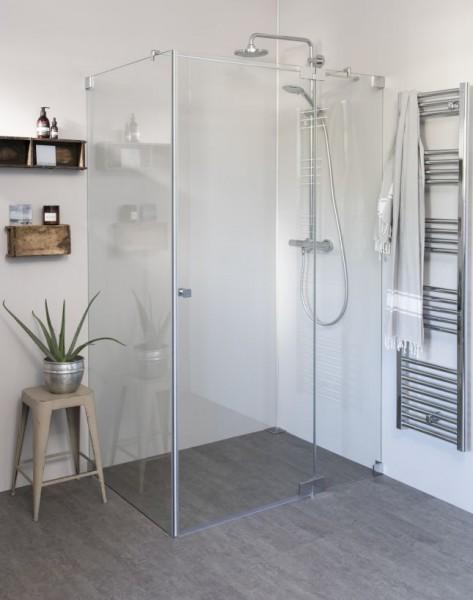 Eck Duschkabine mit Pendeltür groß und Seitenwand
