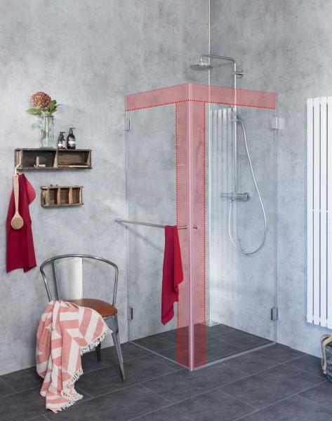 Eck-Duschkabine mit voll öffnender Türe und Glaswand nach Maß