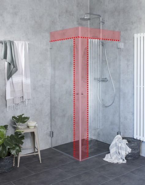Sondermaß Eck-Dusche mit 2 voll öffnenden Türen Glas