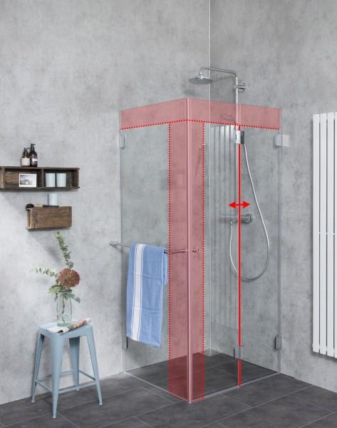 Faltbare Dusche Sondermaß mit Seitenwand Glas