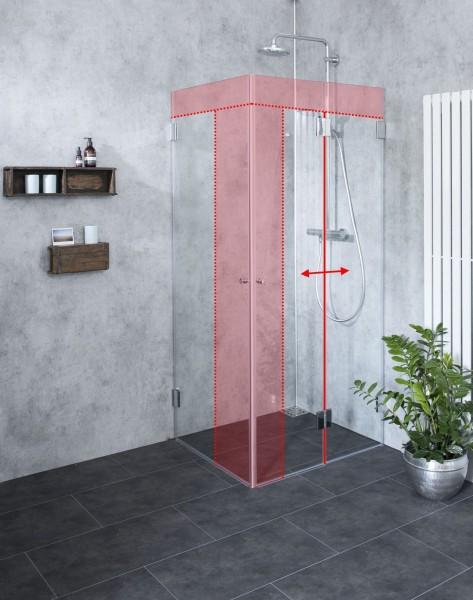 Faltwand Dusche Sondermaß mit Außentüre Glas