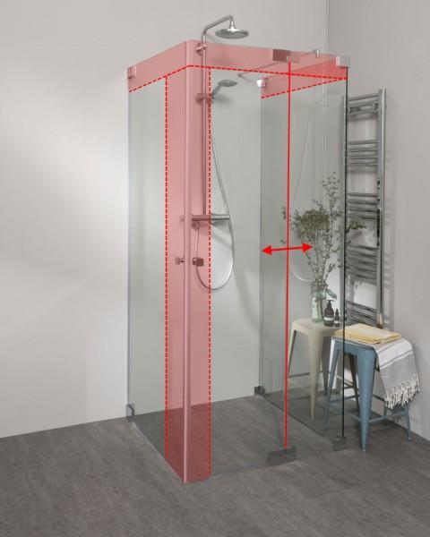 Duschkabine U Form neben Badewanne mit 2 Pendeltüren & Festwand nach Maß