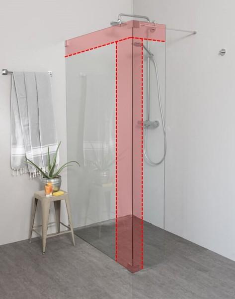 Begehbare Dusche: Duschwand mit Klemm Wandanschlussprofil nach Maß