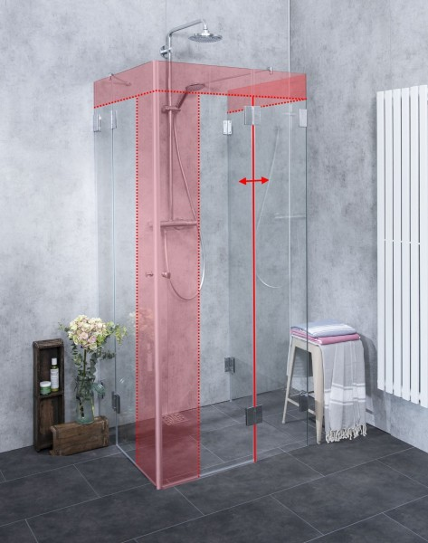 U-Form Dusche nach Maß Eckeinstieg Glas