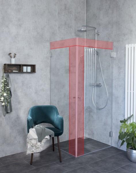 Eck Duschkabine neben Badewanne nach Maß, 2 Türen an Wand
