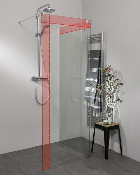 Begehbare Dusche: Freistehende Duschwand über Eck, Maßanfertigung