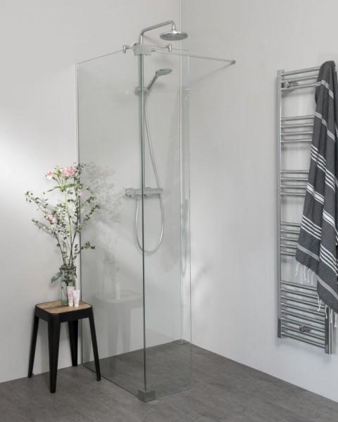 Begehbare Dusche: Walk In Duschwand mit Glas-Festteil & Wandprofil