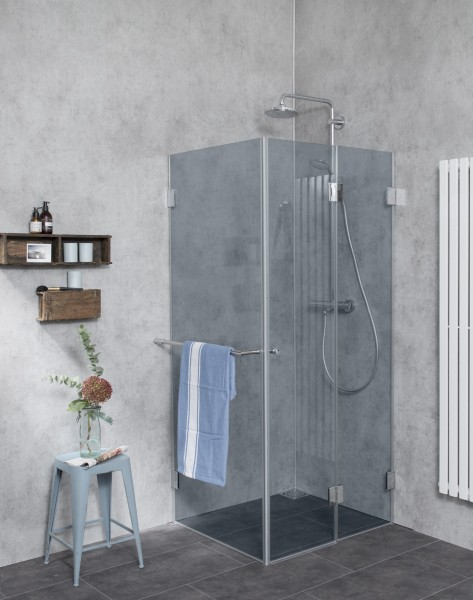 Dusche aus Glas in grau